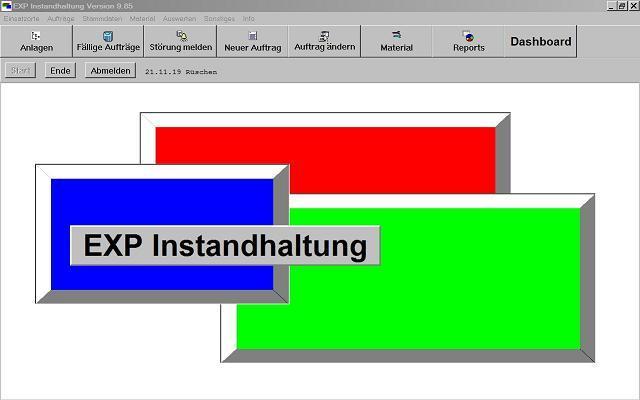EXP-Instandhaltung Hauptmenü